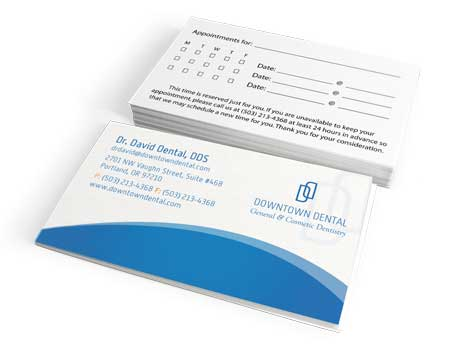 Dental Business Card with Appointment back