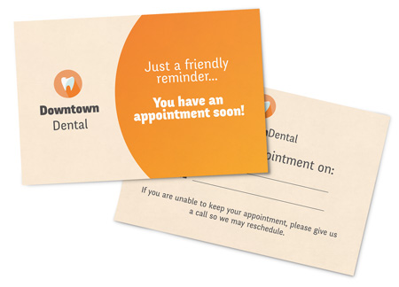 Dental Appointment Reminder postcards