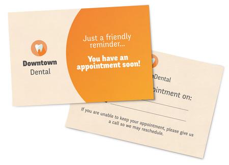 Dental Appointment Reminder postcards